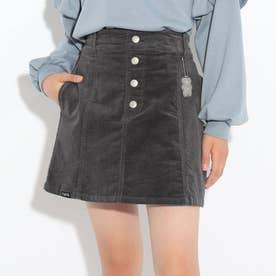 コーデュロイ台形スカート (チャコールグレー)
