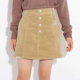 コーデュロイ台形スカート (ベージュ)