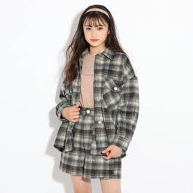 【WEB限定サイズ140㎝あり】シャギーチェックジャケット (ダークブラウン)