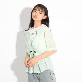 透けシャツレイヤード風トップス (ライトグリーン)