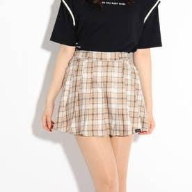 【ニコラ掲載商品】チェックポリプリーツスカート (ベージュ)
