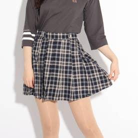 【ニコラ掲載商品】チェックポリプリーツスカート (ネイビー)