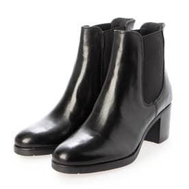本革 サイドゴア美脚ブーツ (BLK)