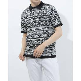 メンズ ゴルフ 半袖シャツ SSニットネイティブ柄ポロシャツ 6211172002 (ブラック)