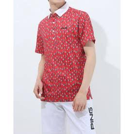 メンズ ゴルフ 半袖シャツ SSボタンダウンポロシャツ 6211160007 (レッド)