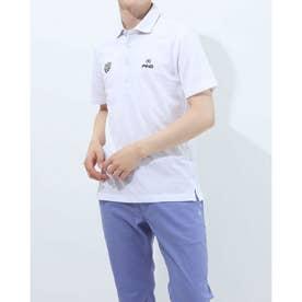 メンズ ゴルフ 半袖シャツ SS共襟ジャガードポロシャツ 6211160005 (ホワイト)