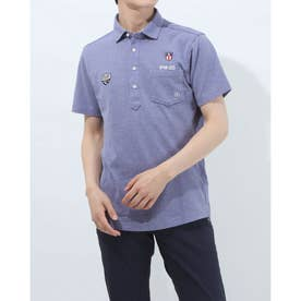 メンズ ゴルフ 半袖シャツ SL共襟ポロシャツ 6211160004 (ブルー)