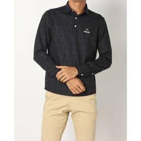 メンズ ゴルフ 長袖シャツ ストレッチ鹿の子LSポロシャツ 6211261006 (ブラック)