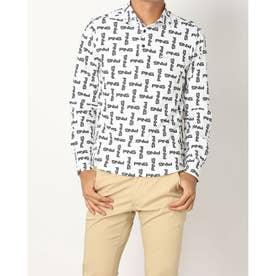 メンズ ゴルフ 長袖シャツ ストレッチ鹿の子LSポロシャツ 6211261006 (ホワイト)