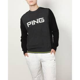 メンズ ゴルフ 長袖セーター PINGビッグロゴニット 6211270006 (グレー)