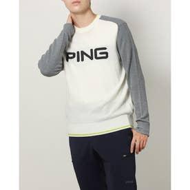 メンズ ゴルフ 長袖セーター PINGビッグロゴニット 6211270006 (ホワイト)