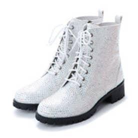 【E 普通】ローヒール タンクソール 編み上げ ショート ブーツ (ホワイトメタリック)