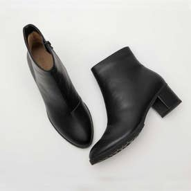 【晴雨兼用】ラウンド レインシューズ(防水雨靴) ブラック 5cm太めヒール (ブラック)