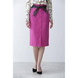 ◆レザーリボン付きフロント釦スカート マゼンダ1