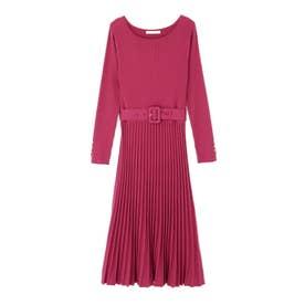 ◆プリーツライクニットワンピース ピンク1