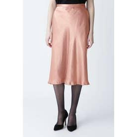 グロッシーサテンバイヤススカート ピンク