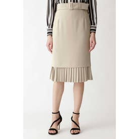 ダブルクロス裾プリーツスカート ベージュ