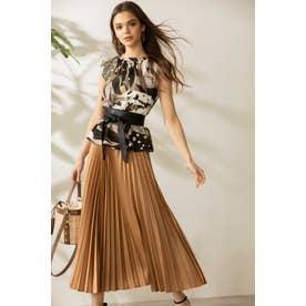 ◆プリーツロングスカート キャメル5