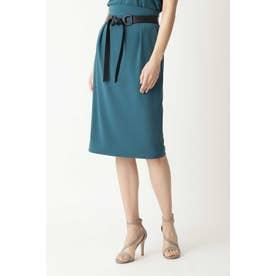 フェイクレザーベルト付きセットアップスカート エメラルドグリーン2