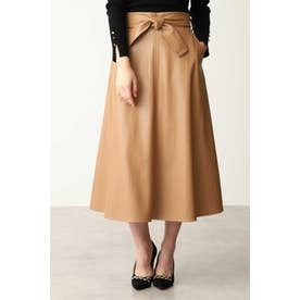 フェイクレザーフレアスカート キャメル5