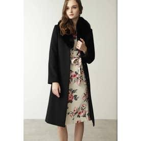 ◆カシミヤ混フォックスファー襟コート ブラック