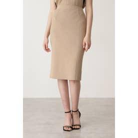 ◆サイドRIBニットスカート キャメル5