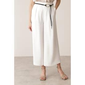 メタル合皮ベルト付きフレアワイドパンツ ホワイト