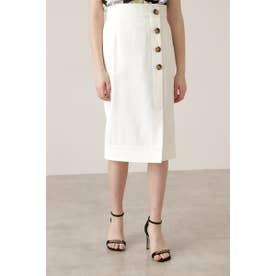 ◆サイドボタンステッチスカート ホワイト