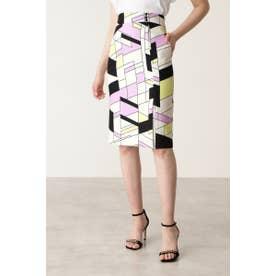◆カラーブロックプリント飾りボタン付きスカート イエロー1