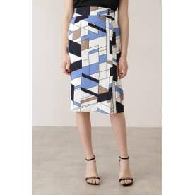 ◆カラーブロックプリント飾りボタン付きスカート ブルー1