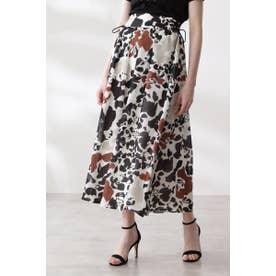 ◆カラーミックスアニマルプリントスカート ブラウン1