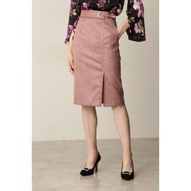 ◆フェイクスエードレザーコンビスカート ピンク