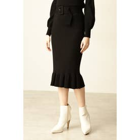 ◆リブニットセットアップスカート ブラック
