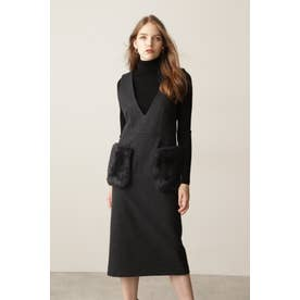 ◆ファーポケットジャンパースカート グレー