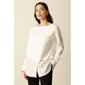 ◆シャツコンビカットソー ホワイト