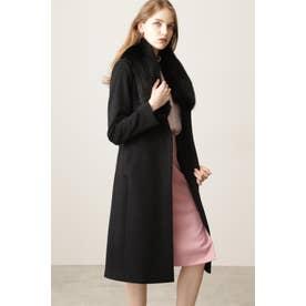 ◆カシミヤ混ベルテッドコート ブラック
