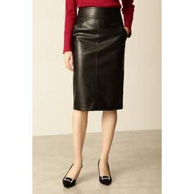 フェイクレザースカート ブラック