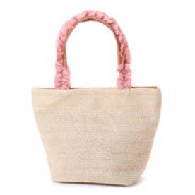 雑材風リボン持ち手手提げバッグ (ピンク)