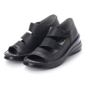もっともっと楽に快適、快歩 足裏 やわらかフカフカ 軽量スニーカーサンダル (ブラック)