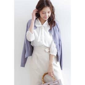 《UV機能付き》《堀田茜さん着用》◆クルーネックシャイニービジュー釦カーディガン ブルー
