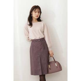 ベルト付ポケットAラインスカート ピンク