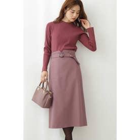 ベルト付きステッチワークタイトスカート モカピンク2