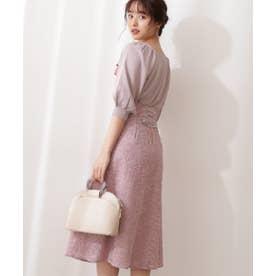 フラワー刺繍バックレースアップスカート ピンク