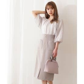 フロントファスナータイトスカート:WEB限定カラー:ラベンダー トープ2