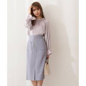 フロントファスナータイトスカート:WEB限定カラー:ラベンダー ダスティブルー1