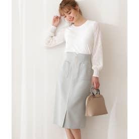 フロントファスナータイトスカート:WEB限定カラー:ラベンダー ライトカーキ