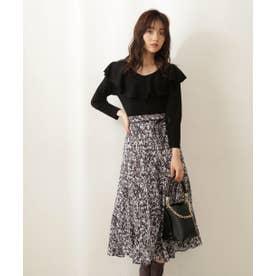 blur zebraマーメイドスカート チャコールブラウン2