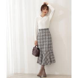 チェックツイードマーメイドスカート WEB限定カラー:ピンクベージュ ブラック