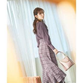 チェックツイードマーメイドスカート WEB限定カラー:ピンクベージュ パープル