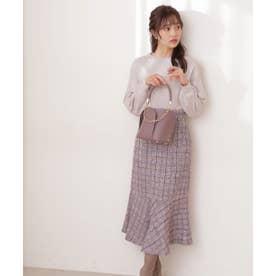 チェックツイードマーメイドスカート WEB限定カラー:ピンクベージュ ブルー